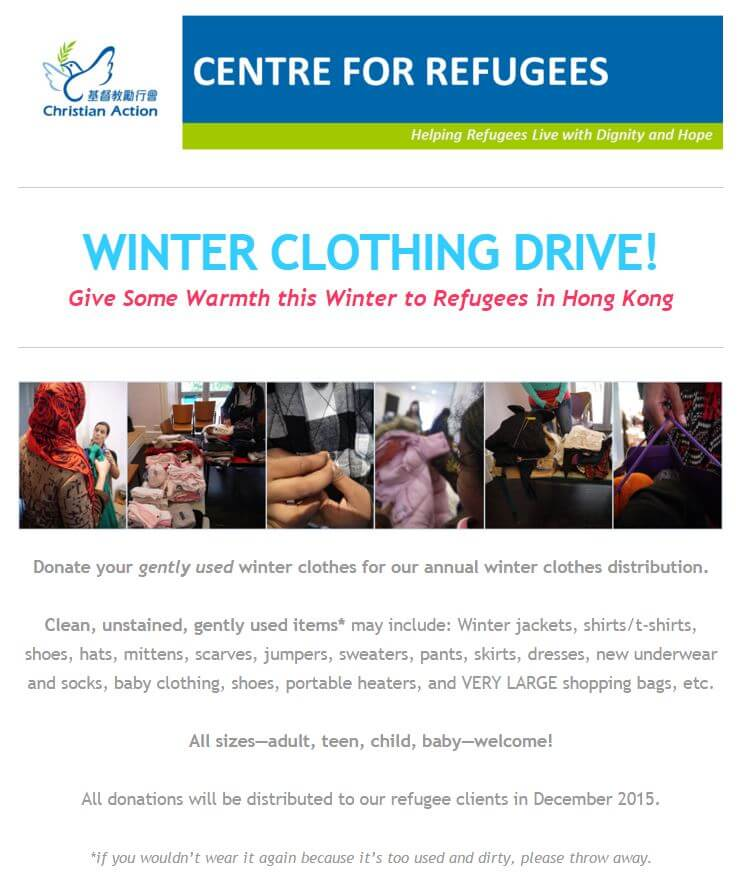 Winter Clothing Drive for Christian Action